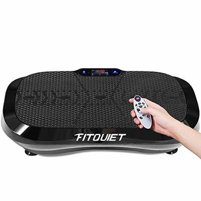 FITQUIET Vibration Plate Exercise Machine with Loop Resistance Bands – Whole Body Workout Vibration Fitness Platform Home Training Equipment for Weight Loss & Shaping Black