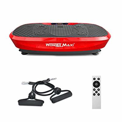 Wonder Maxi 3D Vibration Platform Exercise Machine, Dual Motor Oscillation Whole Body Vibration Fitness Plate with Remote Control and Resistance Bands for Weight Loss Toning (red)