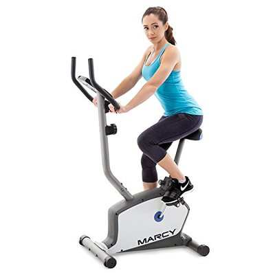Marcy Upright Exercise Bike with Adjustable Seat and 8 Magnetic Resistance Preset Levels NS-1201U,Black/Grey/Silver