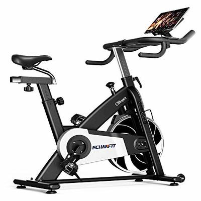 ECHANFIT Exercise Bike Indoor Cycling Stationary with Silent Magnetic Resistance and 297lbs Max Weight and Electronic Display for Home Gym Workout, Nero