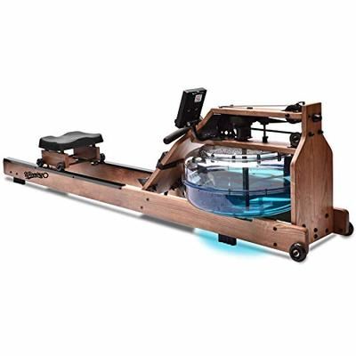WINNINGO Water Rowing Machine, American ASH Wooden Water Rower with Adjustable Resistance, Bluetooth Monitor & Heart Rate Chest Strap, Design for Home Use (Rower Cover Included)