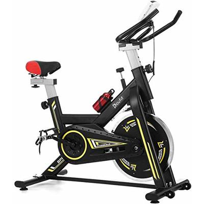 Indoor Cycling Bike Stationary, Doufit Exercise Bike for Home Use, Adjustable Belt Driven Spinning Workout Bicycle with Bottle Holder and LCD Monitor