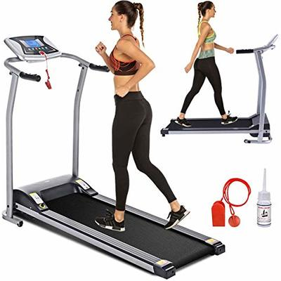 Electric Folding Treadmill for Home with LCD Monitor,Pulse Grip and Safe Key Fitness Motorized Running Jogging Walking Exercise Machine Space Saving for Home Gym Office Easy Assembly (Gray)