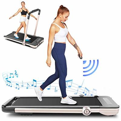 FUNMILY Folding Treadmill,Under Desk Treadmill for Home,2 In1 Running&Walking&Jogging Portable Machine with Bluetooth Speaker&Remote Control,Built-in 5 Modes&12 Programs,Installation-Free (Gold)