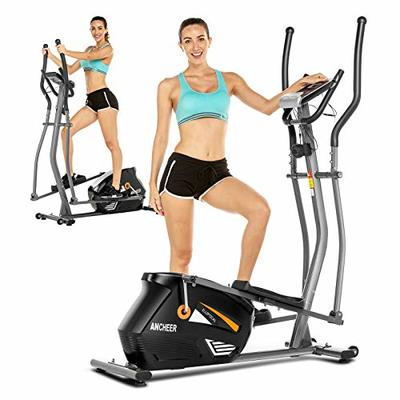 ANCHHER Elliptical Machine, Magnetic Elliptical Exercise Machine with 10 Level Resistance, Multi-Functional Display & APP, 390lbs Weight Limit Exercise Machine for Home Use (Black)