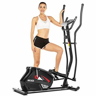 ANCHEER Eliptical Exercise Machine, Magnetic Elliptical Cross Trainer Machine with 3D Virtual APP Control, Updated Top Levels Compact Exercise Machine Smooth Quiet Driven for Home Use (Gray) (Black)