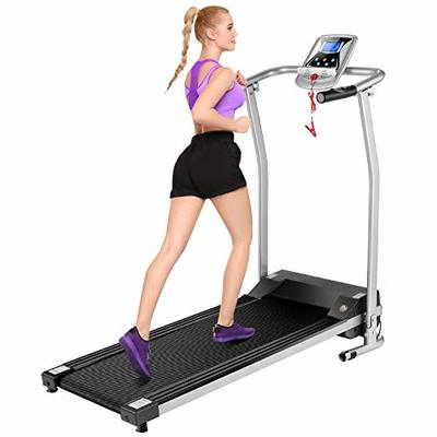 Mauccau Folding Treadmill for Home, Electric Treadmills with LCD Display Exercise Fitness Trainer Walking Running Machine (Silver)