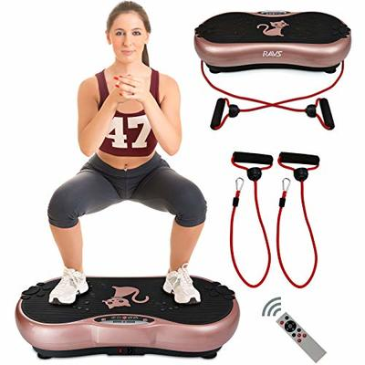Ravs Vibration Plate Exercise Machine Whole Body Workout Machine Vibration Fitness Platform Machine Home Training Equipment with Resistance Bands, Remote Control and Max Load 330lbs-[Gold]