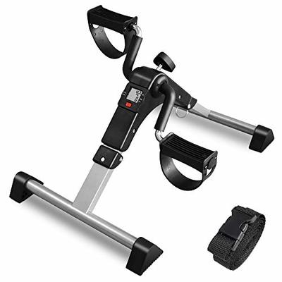 ORFORD Exercise Bike Pedal Exerciser, Folding Peddler Under Desk, Exercise Bicycles for Seniors with LCD Display for Arms, Legs, Black