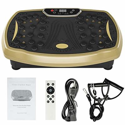 Elynn Vibration Plate Whole Body Exercise Machine with Touch LED Screen Massage Workout Trainer Vibration Platform, Max User Weight 330lbs (Gold)