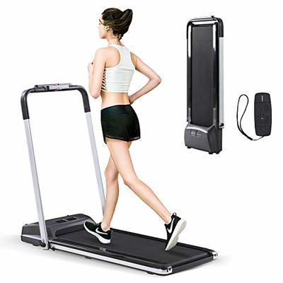 Estleys 2 in 1 Folding Under Desk Treadmill, Smart Walking Jogging Machine, Dual LCD Display& Remote Controller, Compact Treadmill or Home Gym Fitness Workout, Installation-Free