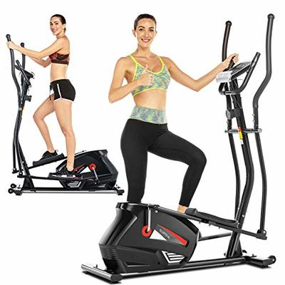 ANCHEER Elliptical Trainers, Magnetic Eliptical Exercise Machines with 3D Virtual APP Control & 10 Level Magnetic Resistance, Max User Weight 390lbs (Black)