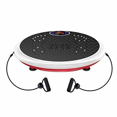 Real Relax Super Powerful Vibration Plate Exercise Machine Whole Body Workout for Home Training for Weight Loss & Toning with Resistance Band, Remote Control and Support 330Ibs, Red & White