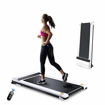 UMAY Portable Treadmill with Foldable Wheels, Under Desk Walking Pad Flat Slim Treadmill, Sports App, Installation-Free, Remote Control, Jogging Running Machine for Home/Office, White