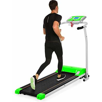 Folding Treadmill, Electric Running Machine with LCD Monitor Motorized Walking Running Machine Equipment for Home Gym (Green)
