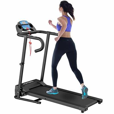 Murtisol 1100W Electric Folding Treadmill with LCD Display, Pad Holder, 12 Preset Programs Perfect for Home Use,Black/Blue