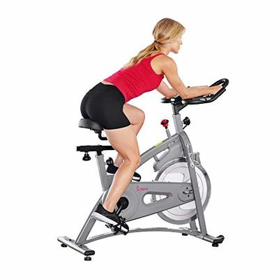 Sunny Health & Fitness Magnetic Belt Drive Indoor Cycling Bike – SF-B1877, silver