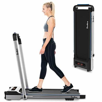 2 in 1 Folding Treadmill Under Desk Treadmill Portable Space Saving Walking Jogging Machine for Home Office Installation-Free Workout Indoor Exercise LCD Display Remote Control