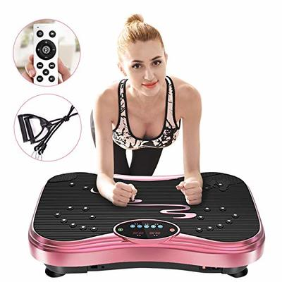NIMTO Vibration Plate Exercise Machine Whole Body Workout Vibration Fitness Platform for Home Fitness & Weight Loss + Remote+Loop Resistance Bands, 999 Levels