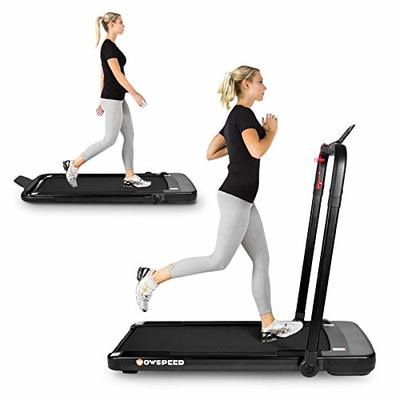 Folding Treadmill,2.25HP Under Desk Electric Treadmill, Installation-Free with APP, Remote Control and LED Display, Portable Walking Machine for Home, Office & Gym (Fashion Black)