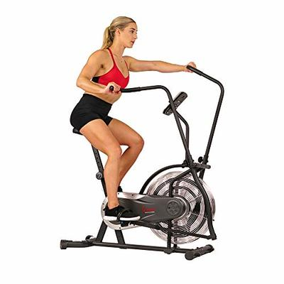 Sunny Health & Fitness Zephyr Air Bike, Fan Exercise Bike with Unlimited Resistance and Device Mount – SF-B2715, Black
