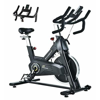 PYHIGHIndoor Cycling Bike Stationary Bicycle ExerciseBike, LCD Monitor with iPad Holder, Comfortable Seat Cushion, Multi – grips Handlebar for Home Workout