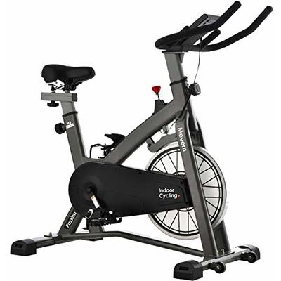 MEVEM Exercise Bike Stationary, Indoor Cycling Bike Belt Drive With Quiet Magnetic Resistance for Home Cardio Workout, Heavy Flywheel & Comfortable Seat Cushion with LCD Monitor