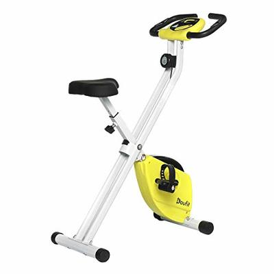 Exercise Bike Foldable for Home Use, Doufit Folding Indoor Stationary Bike, Adjustable Magnetic Workout Cycling Bicycle with Pulse Sensor & LCD Monitor (White)